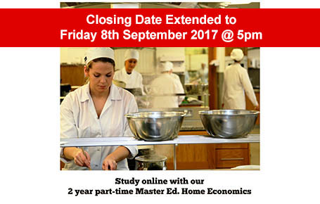 M.Ed. (Home Economics)  is 100% online, 2 years part time