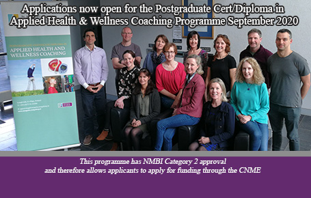 Applications now open for the Postgraduate Cert/Diploma in Applied Health & Wellness Coaching Programme September 2020